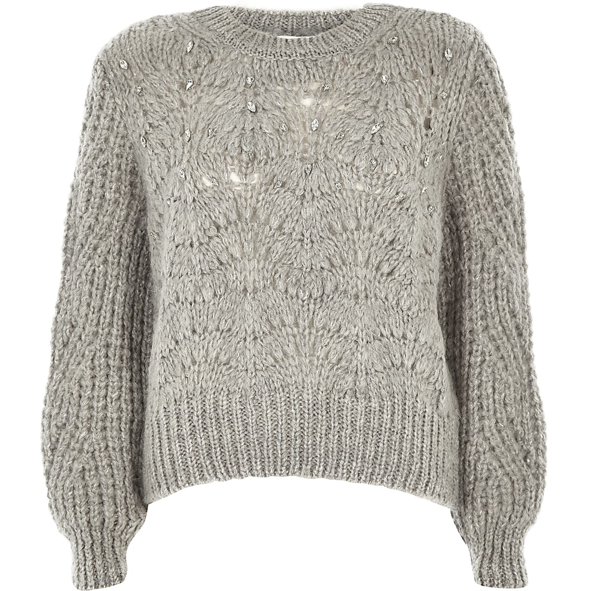 Petite grey knit crew neck embellished jumper