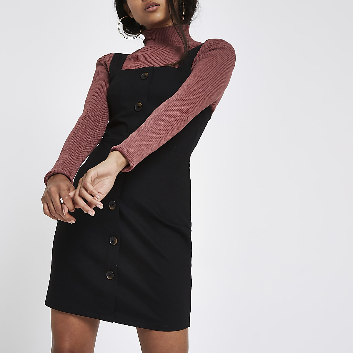 Petite black bodycon button up mini dress