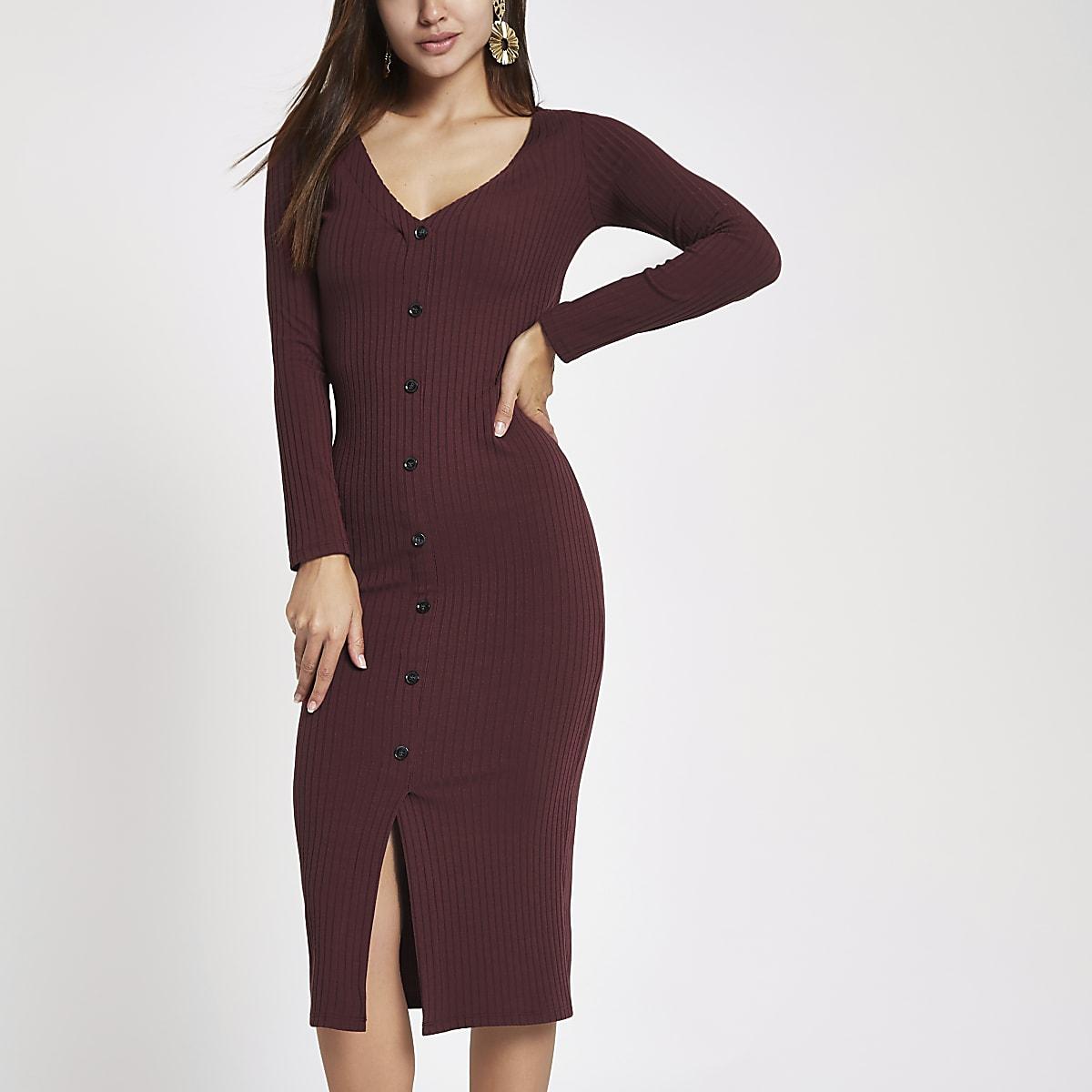 e442ecf4e1a93 Dark red ribbed button front bodycon dress - Bodycon Dresses - Dresses -  women