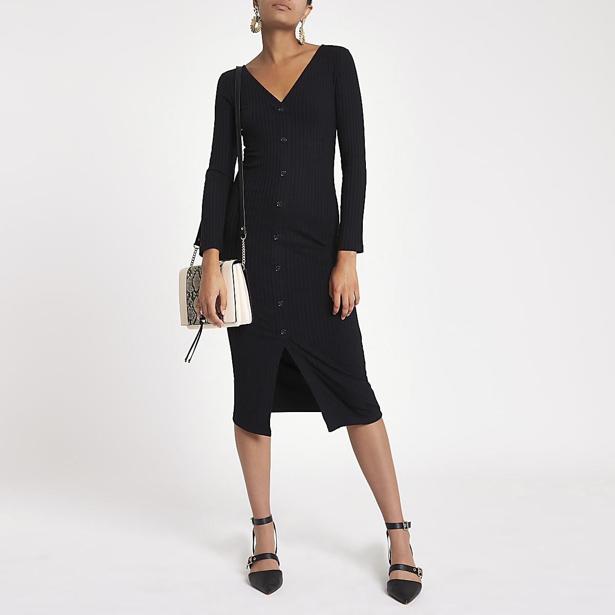01b69342d Black ribbed button front bodycon dress - Bodycon Dresses - Dresses - women