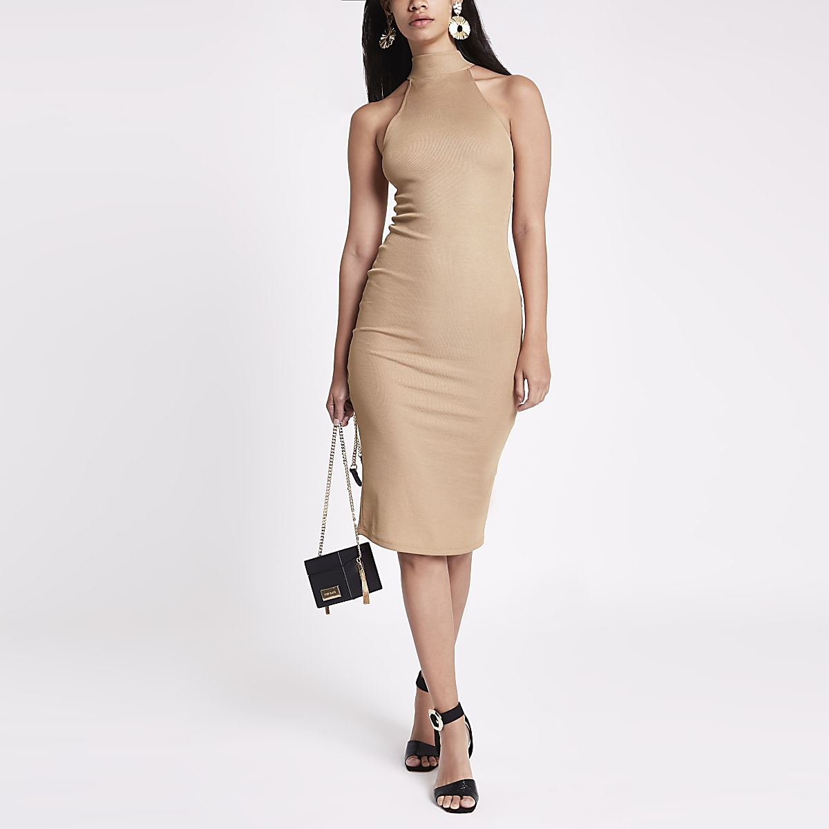 Beige halter neck cutaway midi bodycon dress