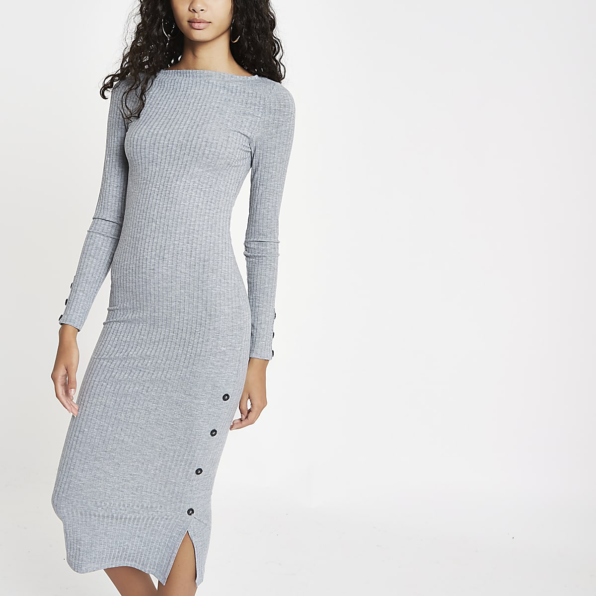 2b7cf6b35309 Grey marl rib button side midi dress - Bodycon Dresses - Dresses - women
