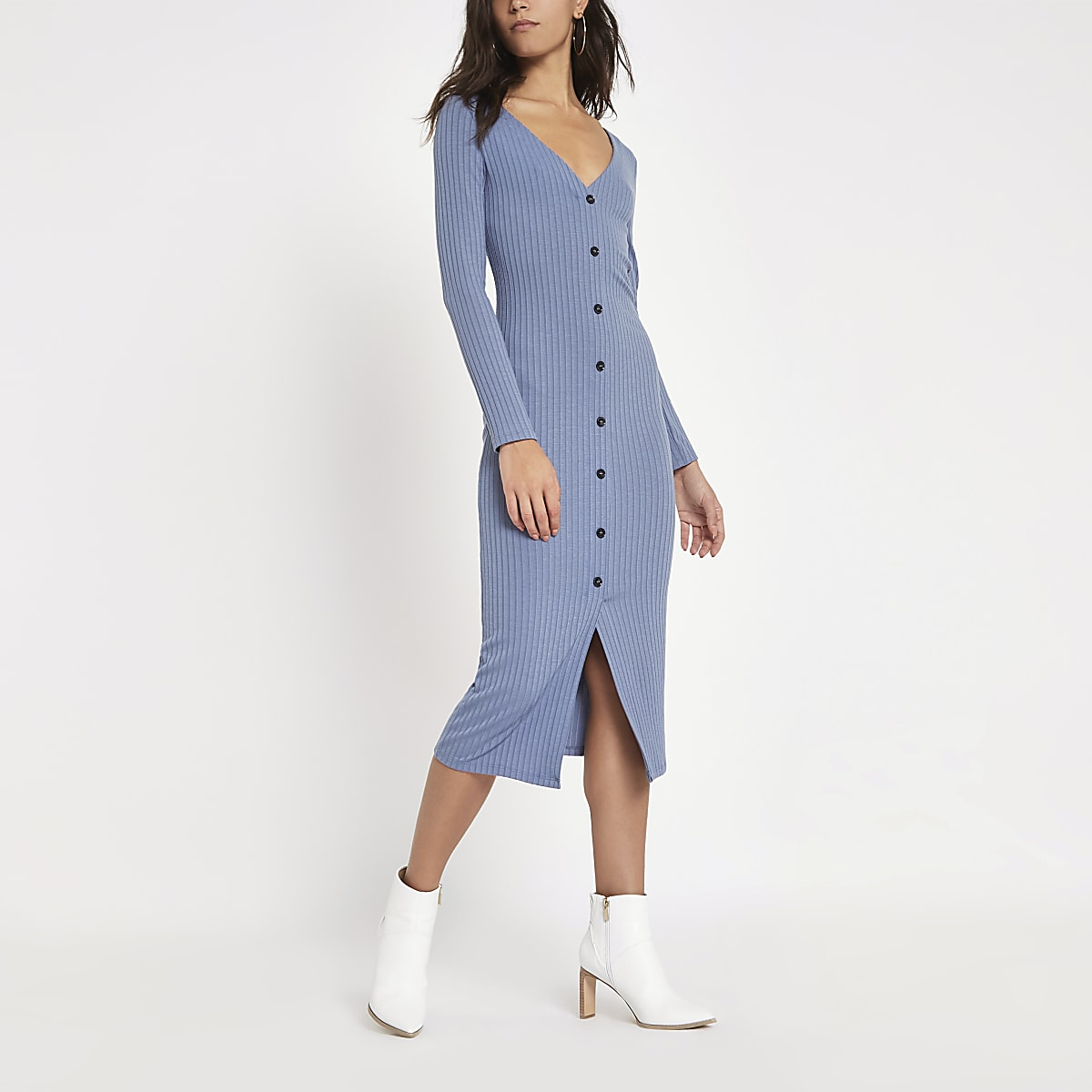 Light blue ribbed button front bodycon dress