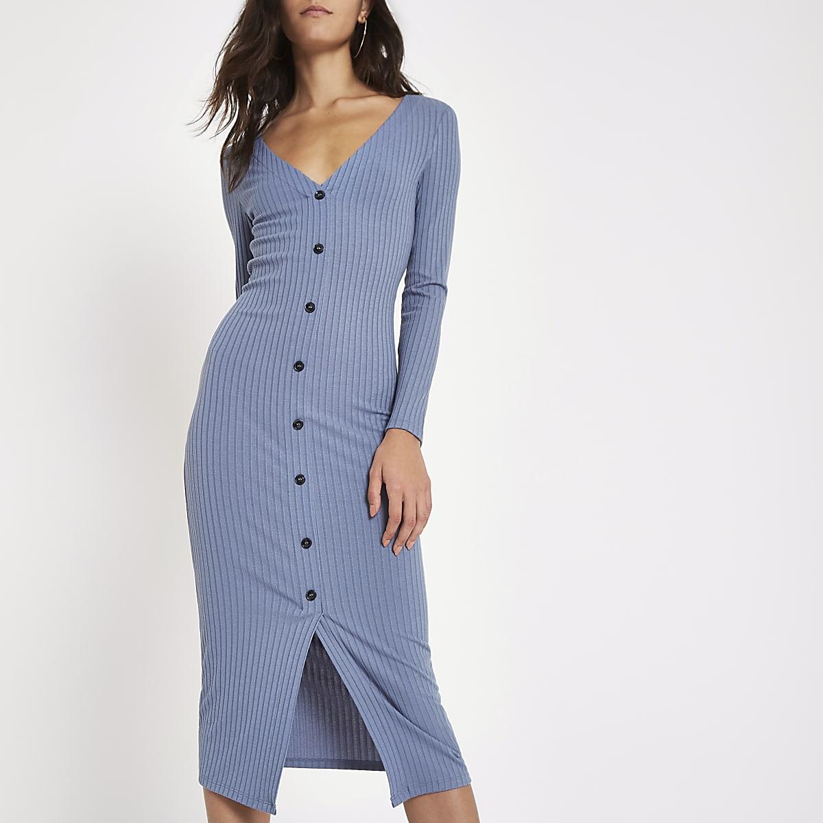 fbcb6d77333ff Light blue ribbed button front bodycon dress - Bodycon Dresses ...