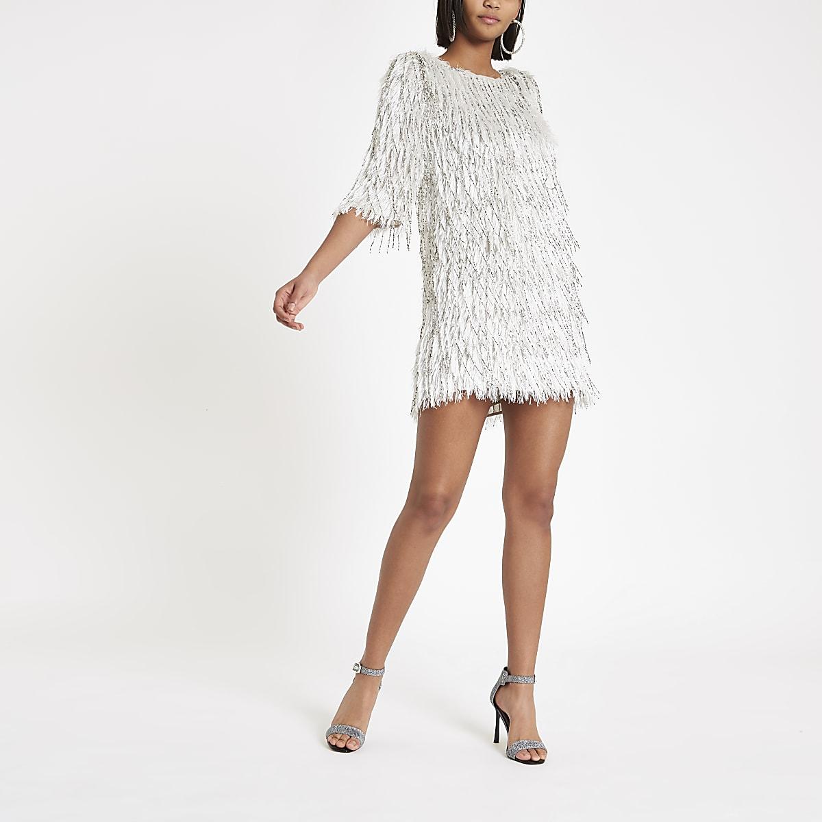 fb3e5928 Silver sequin embellished fringe dress - Swing Dresses - Dresses - women