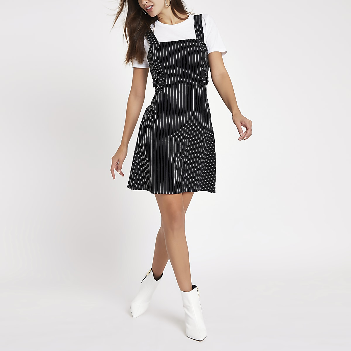 Black stripe D-ring belt pinafore mini dress