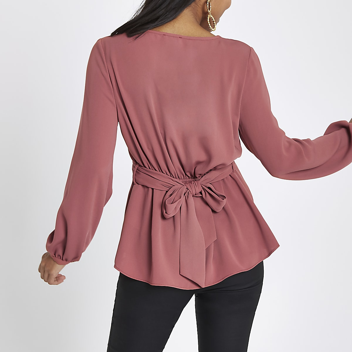 e02cf91d2c36f2 Petite copper twist front long sleeve blouse - Blouses - Tops - women