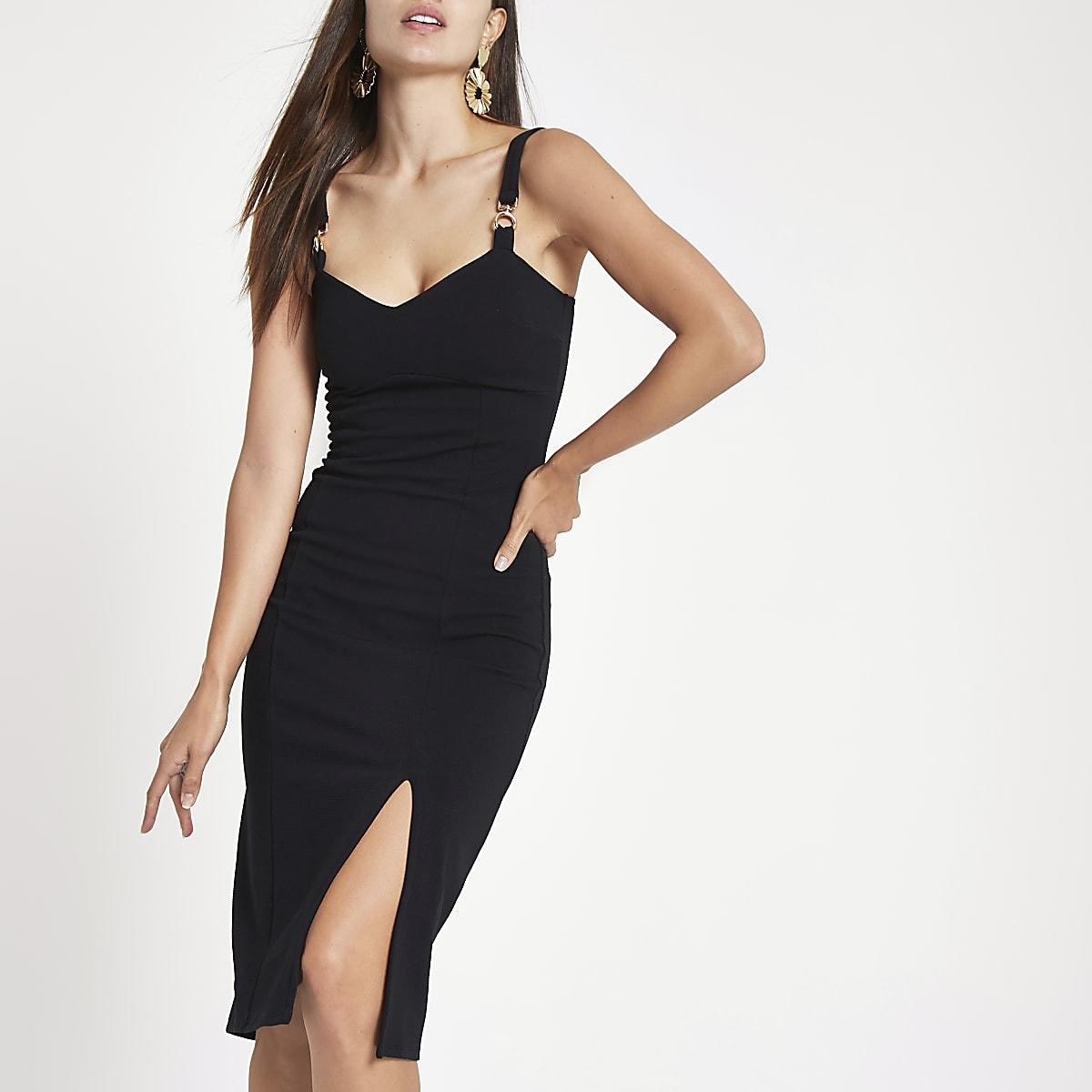 Black ribbed buckle strap bodycon midi dress