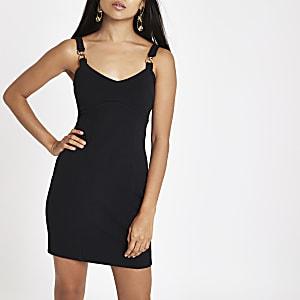 Petite black buckle strap bodycon mini dress
