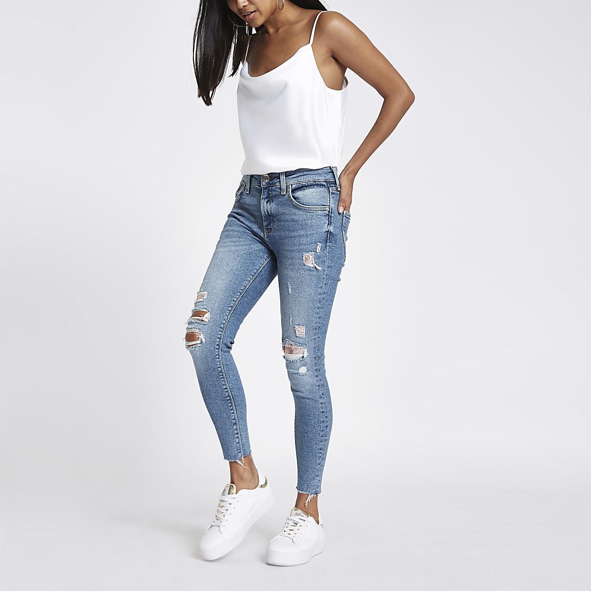 3f2fb14d05980e Petite – Amelie – Mittelblaue Jeans im Used Look - Skinny Jeans ...