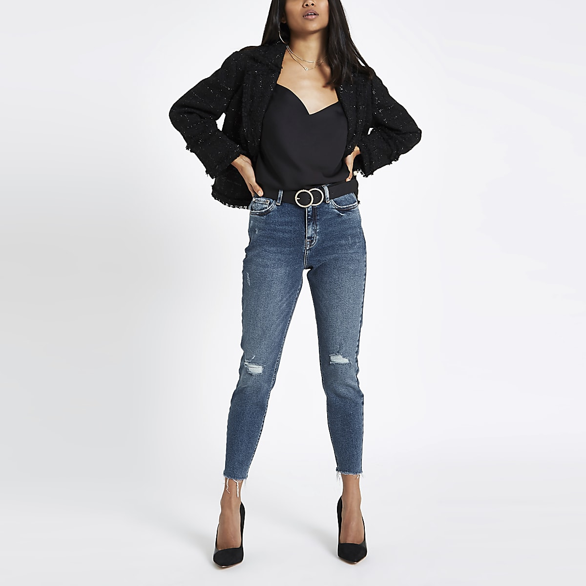 Petite blue Original mid rise skinny jeans