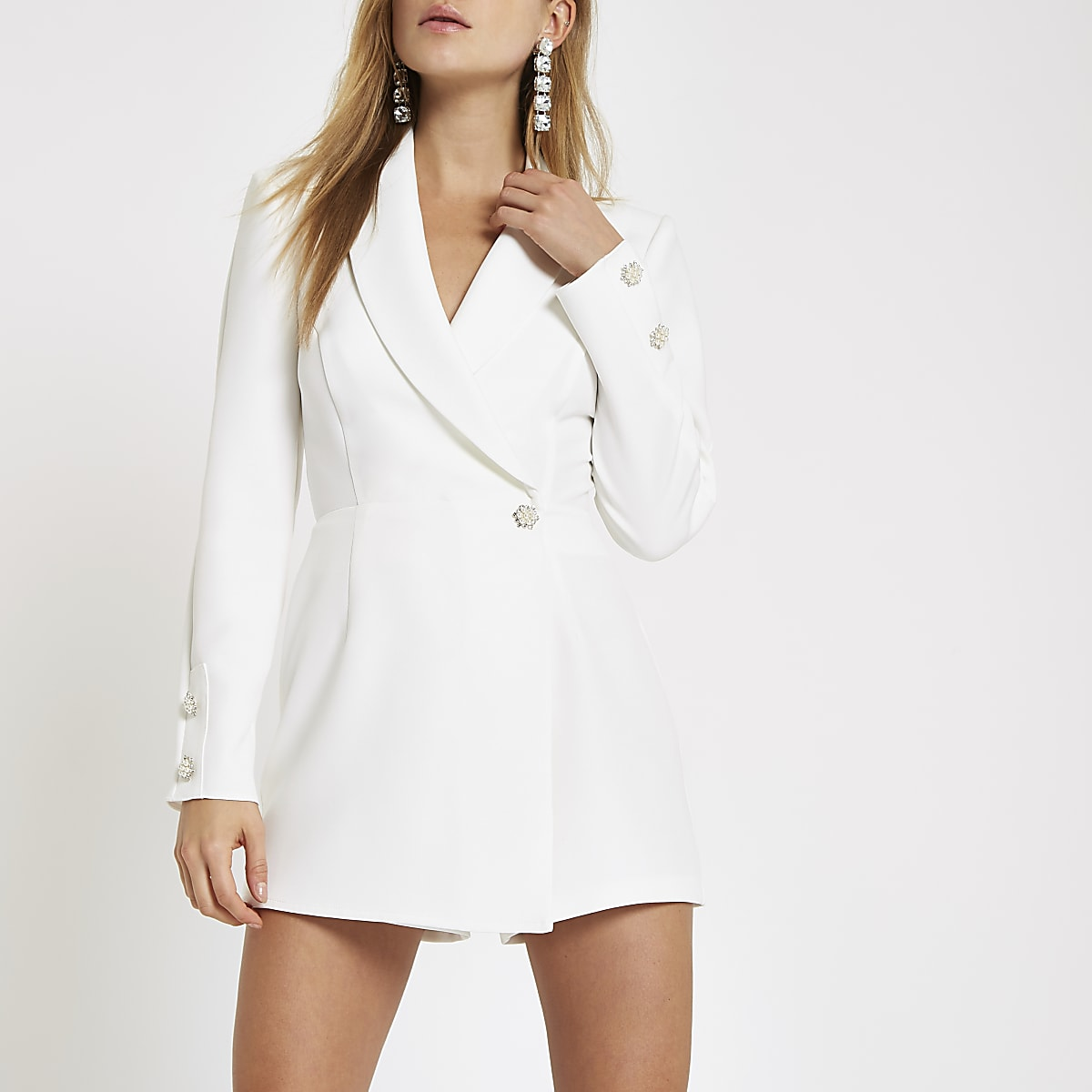 8be97b9984 White long sleeve tux playsuit - Playsuits - Playsuits   Jumpsuits - women