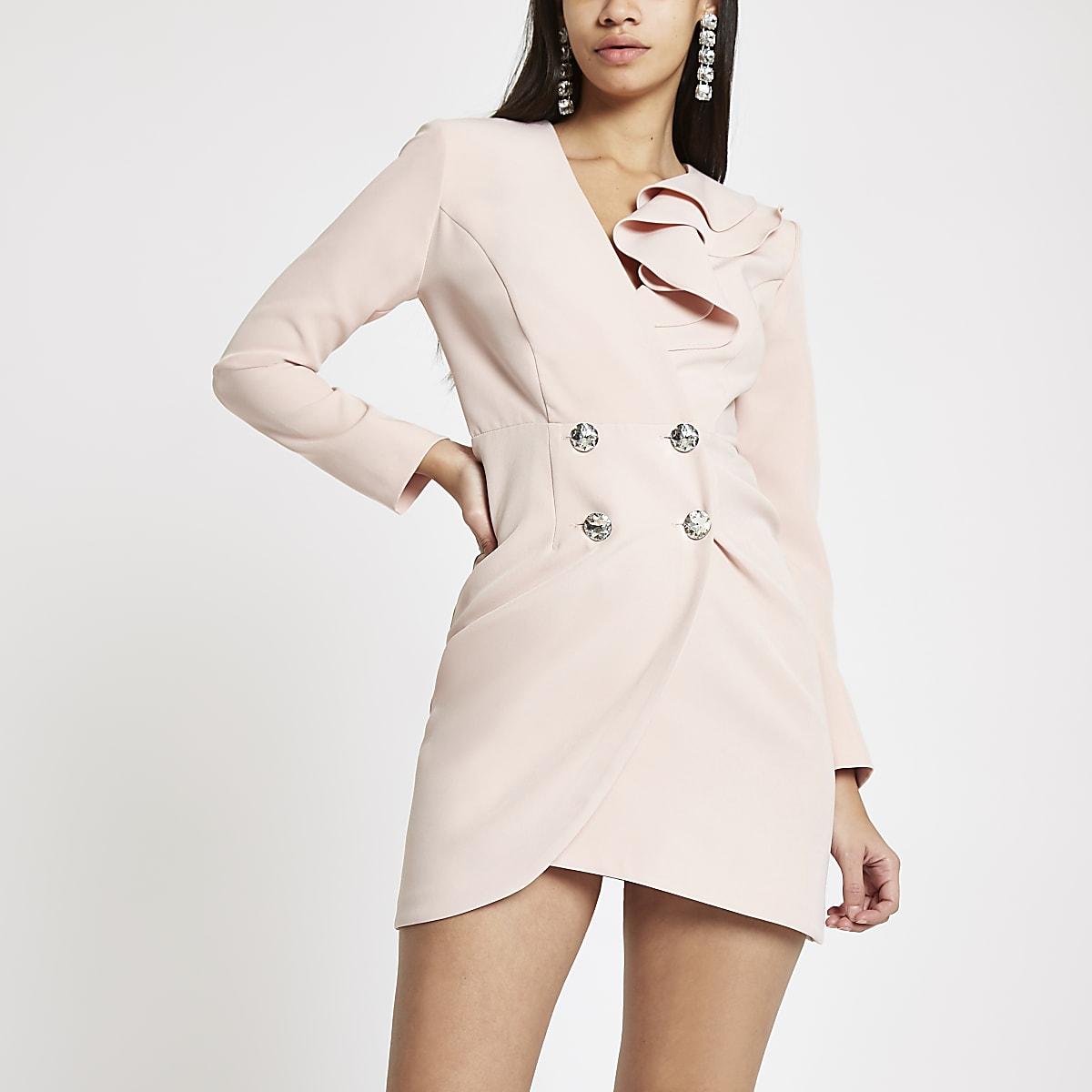 Light pink bodycon ruffle tux mini dress
