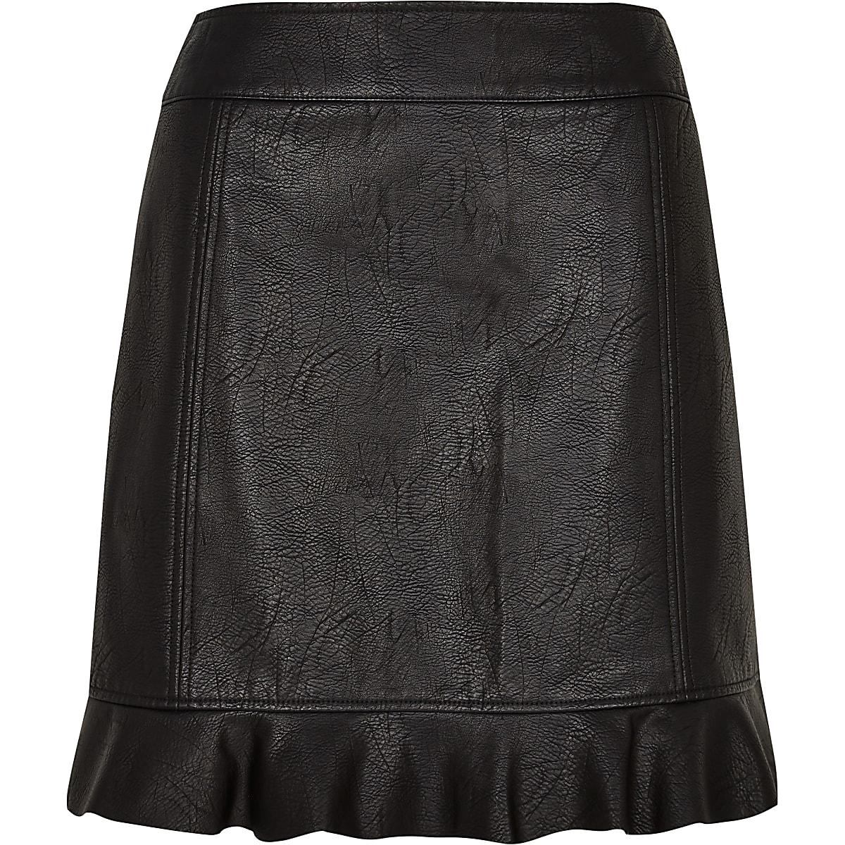 a9f8b10cc Black faux leather frill hem mini skirt - Mini Skirts - Skirts - women