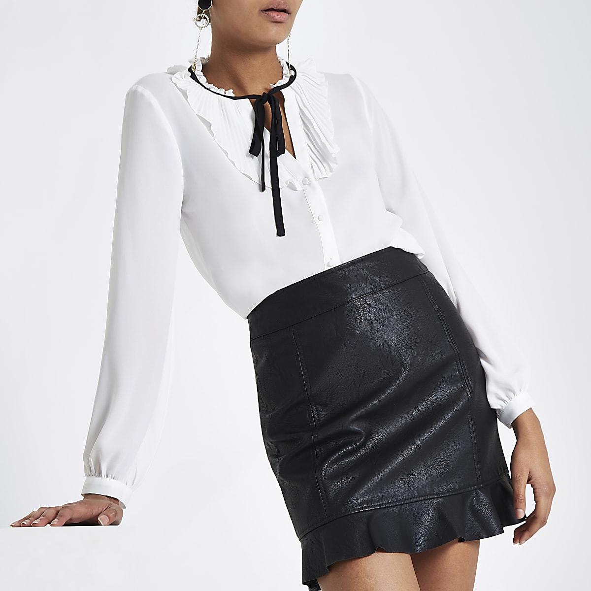 38903b507b Black faux leather frill hem mini skirt - Mini Skirts - Skirts - women