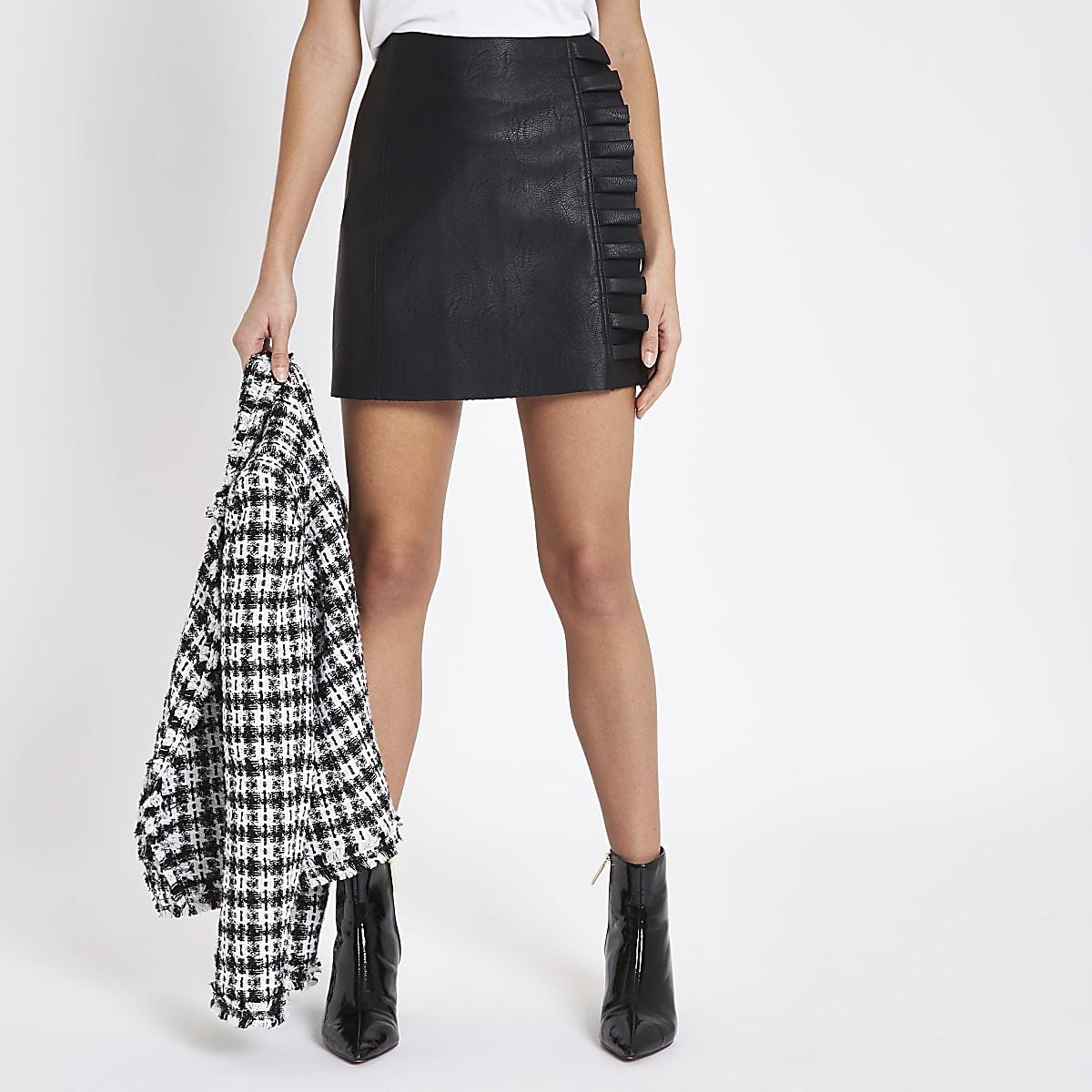 Black faux leather frill side mini skirt