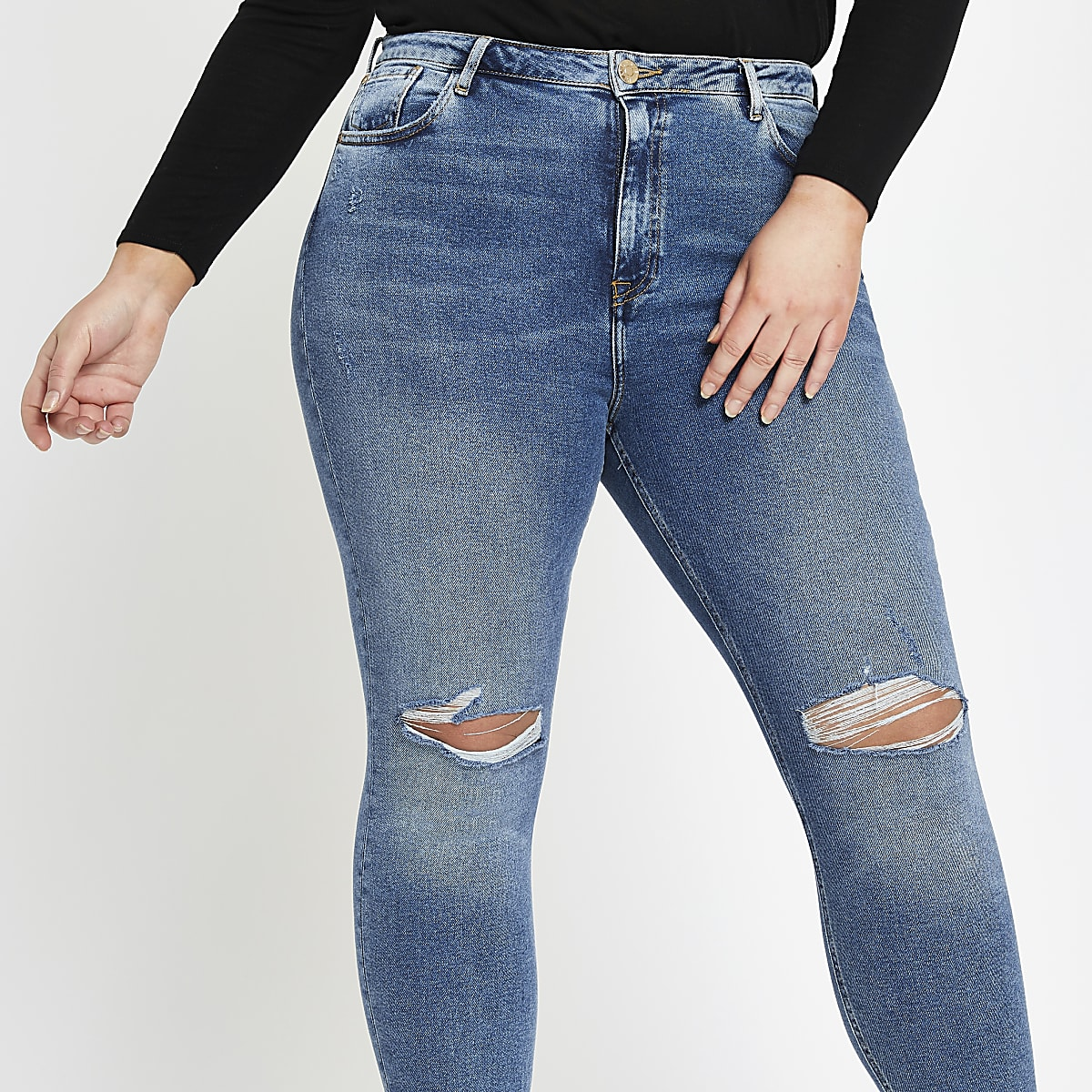 RI Plus - Original - Blauwe halfhoge skinny jeans
