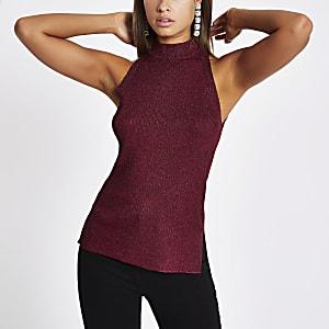 Burgundy knit sleeveless racerback tank top