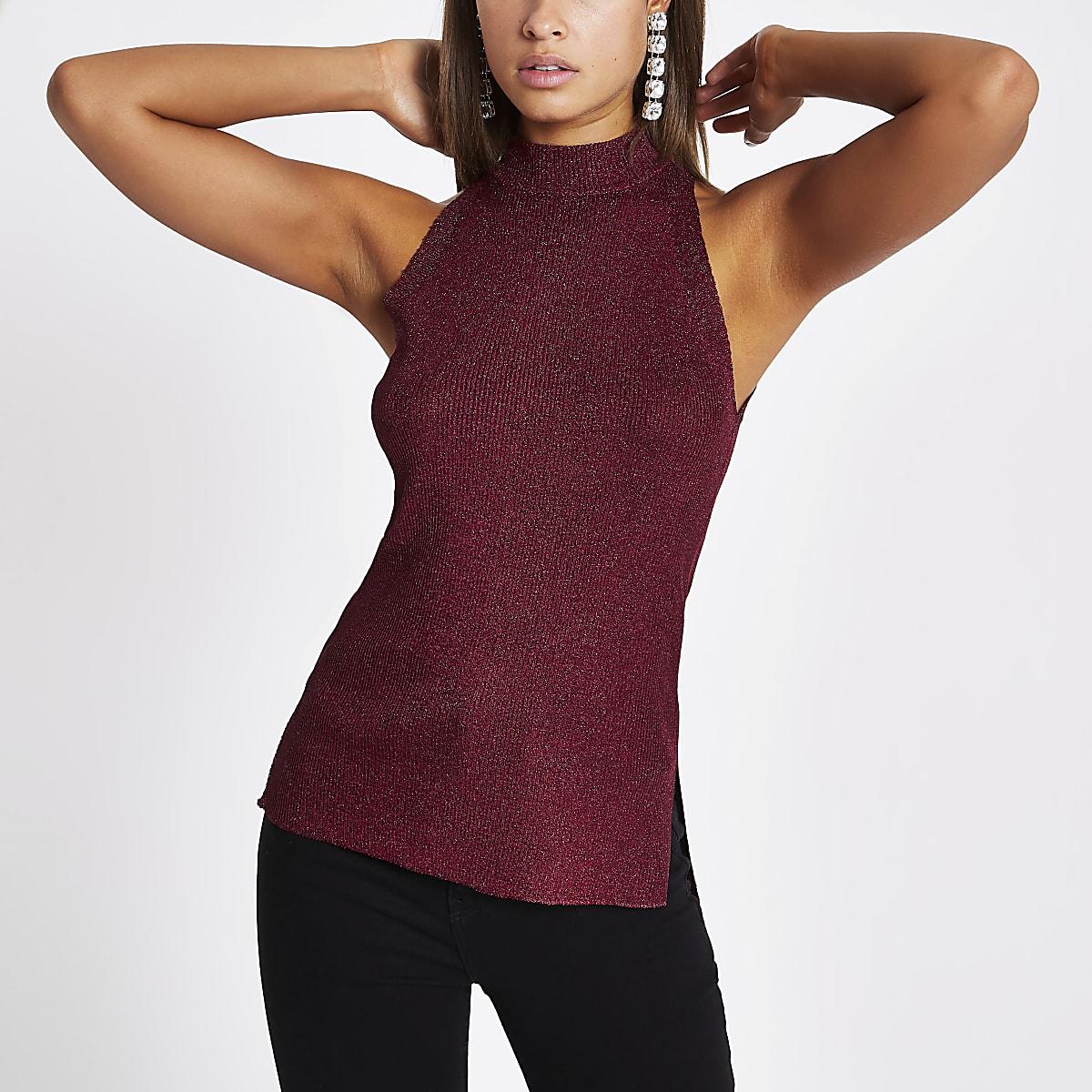 Burgundy knit sleeveless racer vest