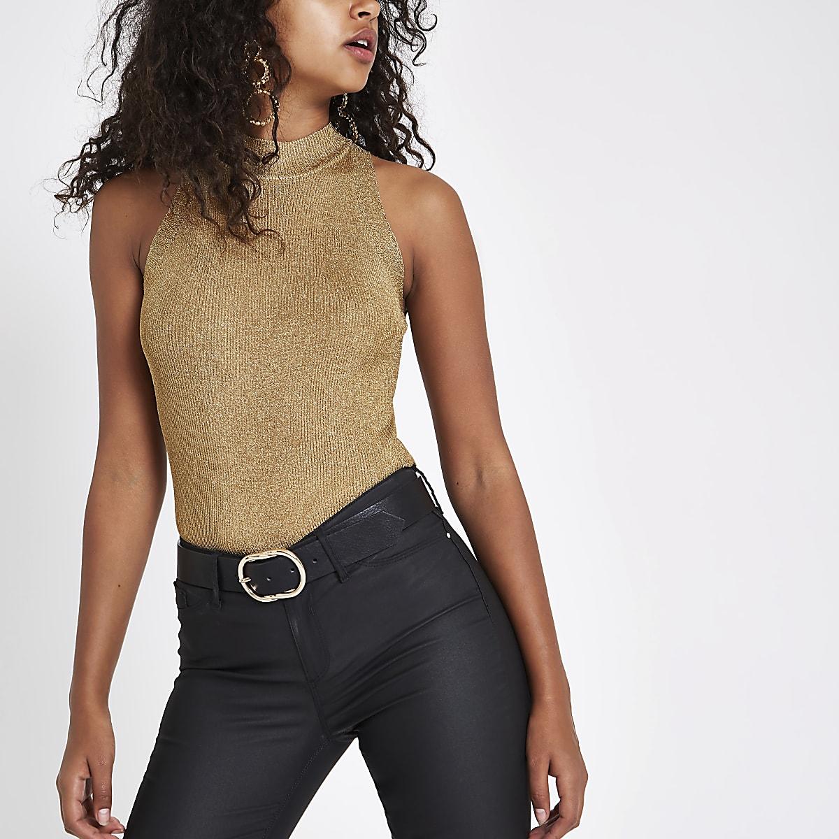 Gold knit sleeveless racer vest