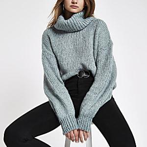 Light green roll neck knit sweater