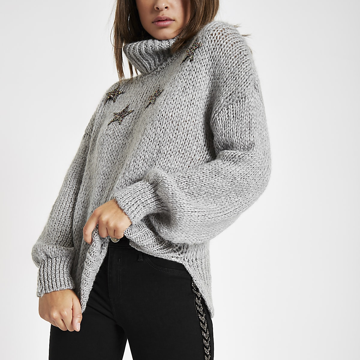 a0e494965dfffe Grey star roll neck knit jumper - Jumpers - Knitwear - women