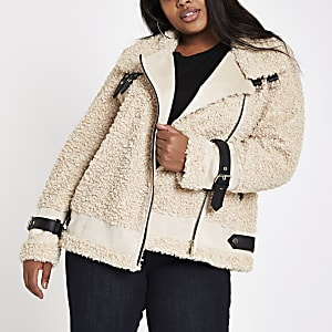 Plus beige borg aviator jacket