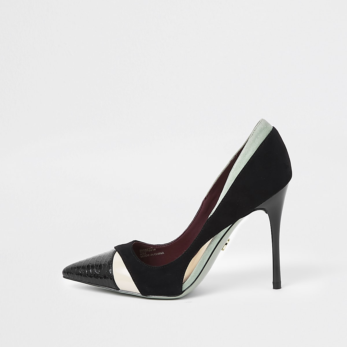 Black colour block court shoes