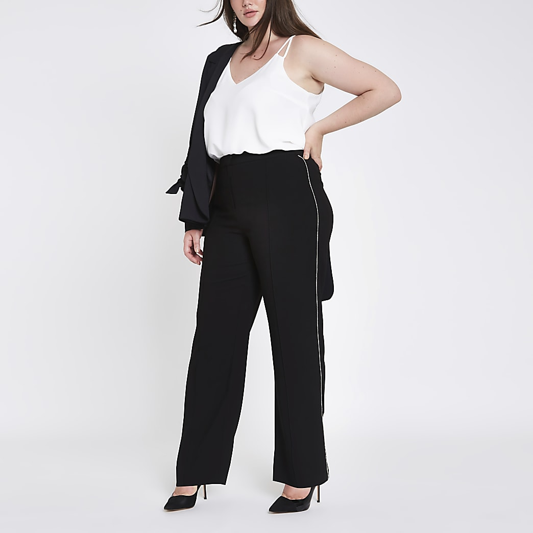 Plus black diamante side wide leg trousers