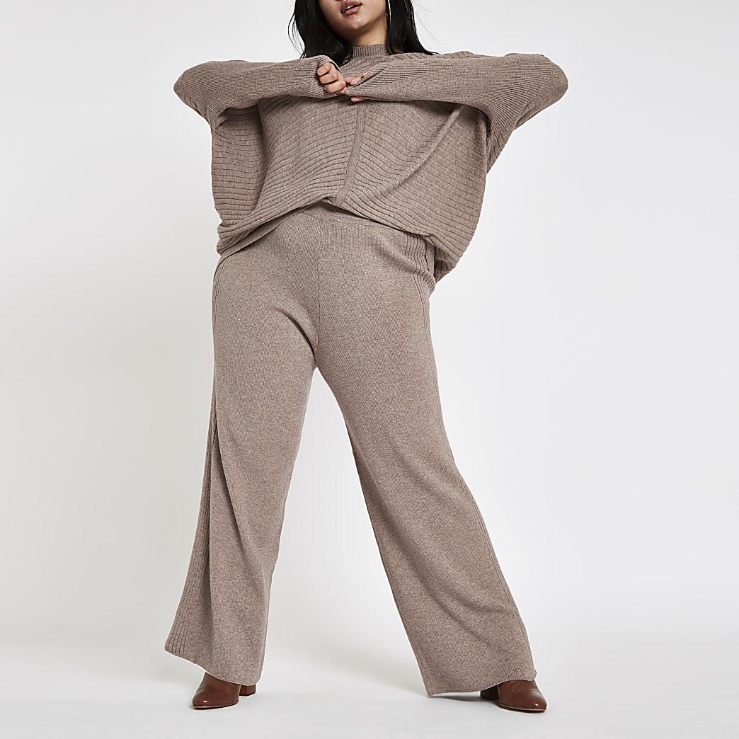 Plus – Pantalon en maille marron clair
