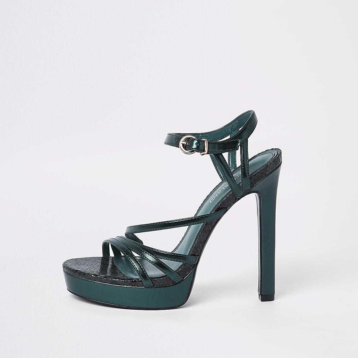 Donkergroene sandalen met plateauzool