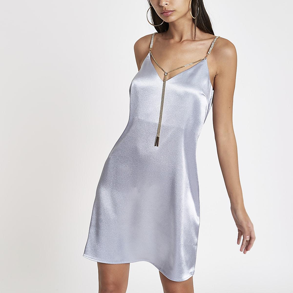 Blue satin chain strap slip dress