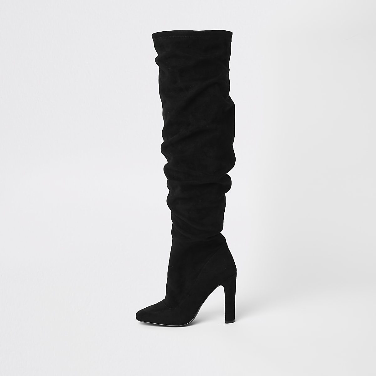 Black over the knee slouch boots