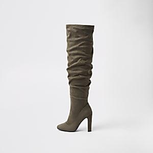 Donkergrijze ruimvallende overknee laarzen