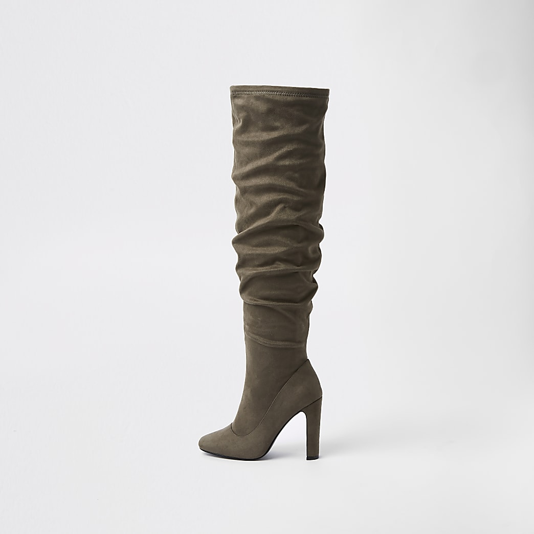 Dark grey over the knee slouch boots