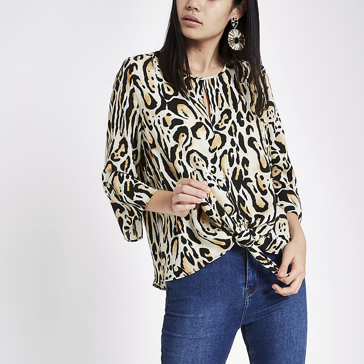 Brown tiger print tie front blouse