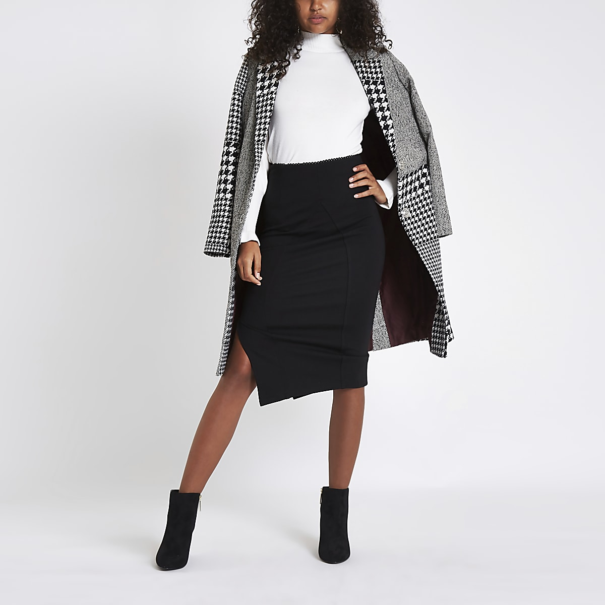 Black ponte split hem pencil skirt