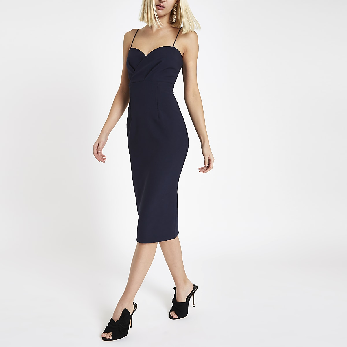 Navy tulip style bodycon midi dress