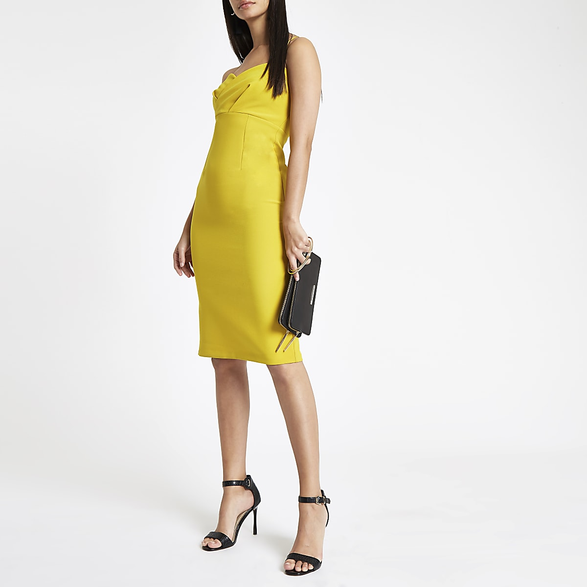 Yellow tulip style bodycon midi dress