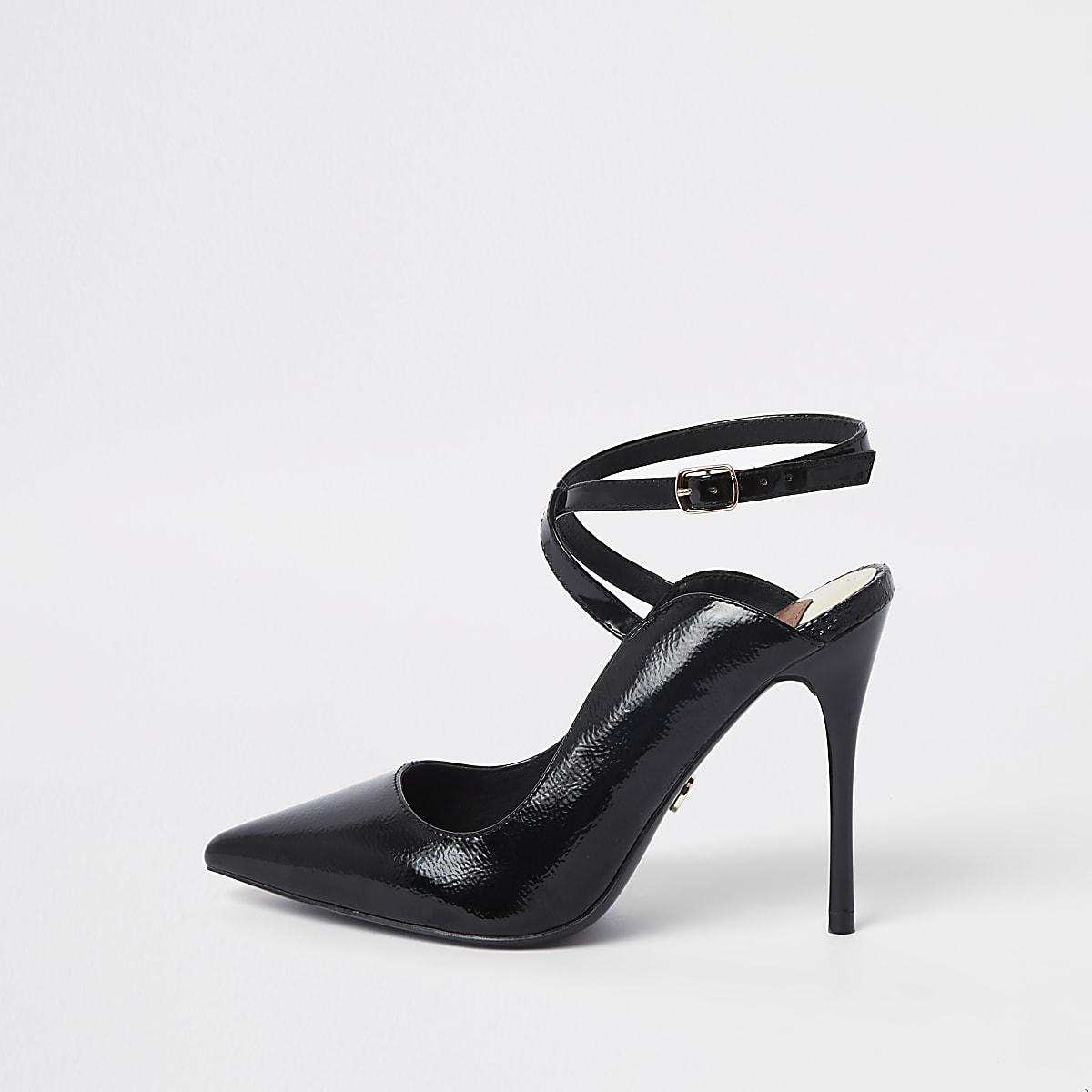 Black wide fit patent cross strap court shoes
