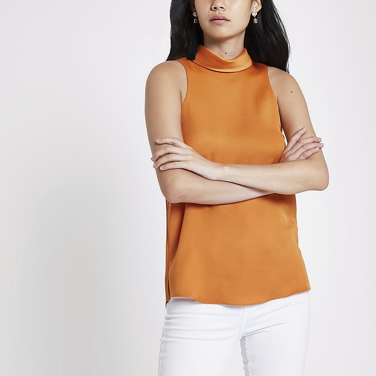 31002c0b8f75c Top orange en satin à col montant - Blouses - Tops - Femme