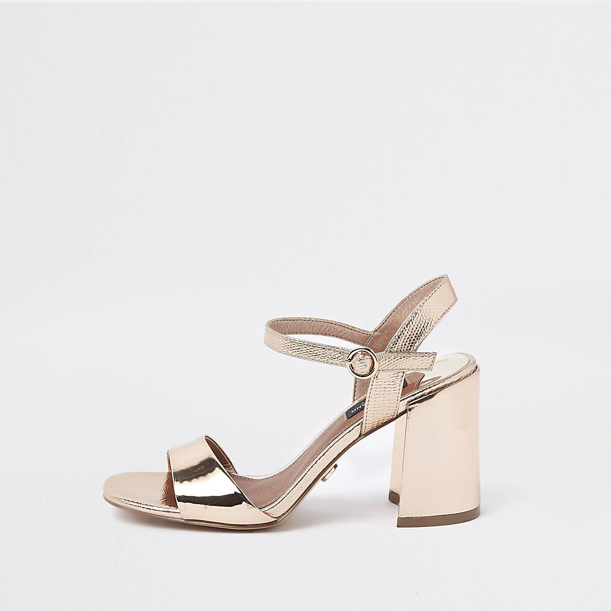 Bright gold wide fit block heel sandals