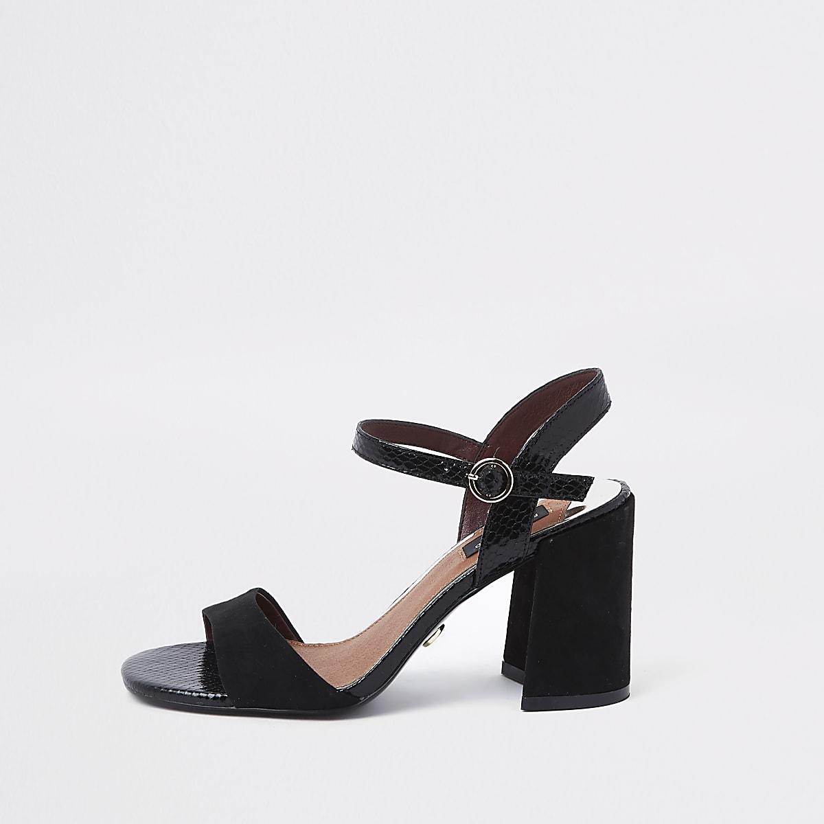 7fc7546da Black croc wide fit block heel sandals - Sandals - Shoes   Boots - women