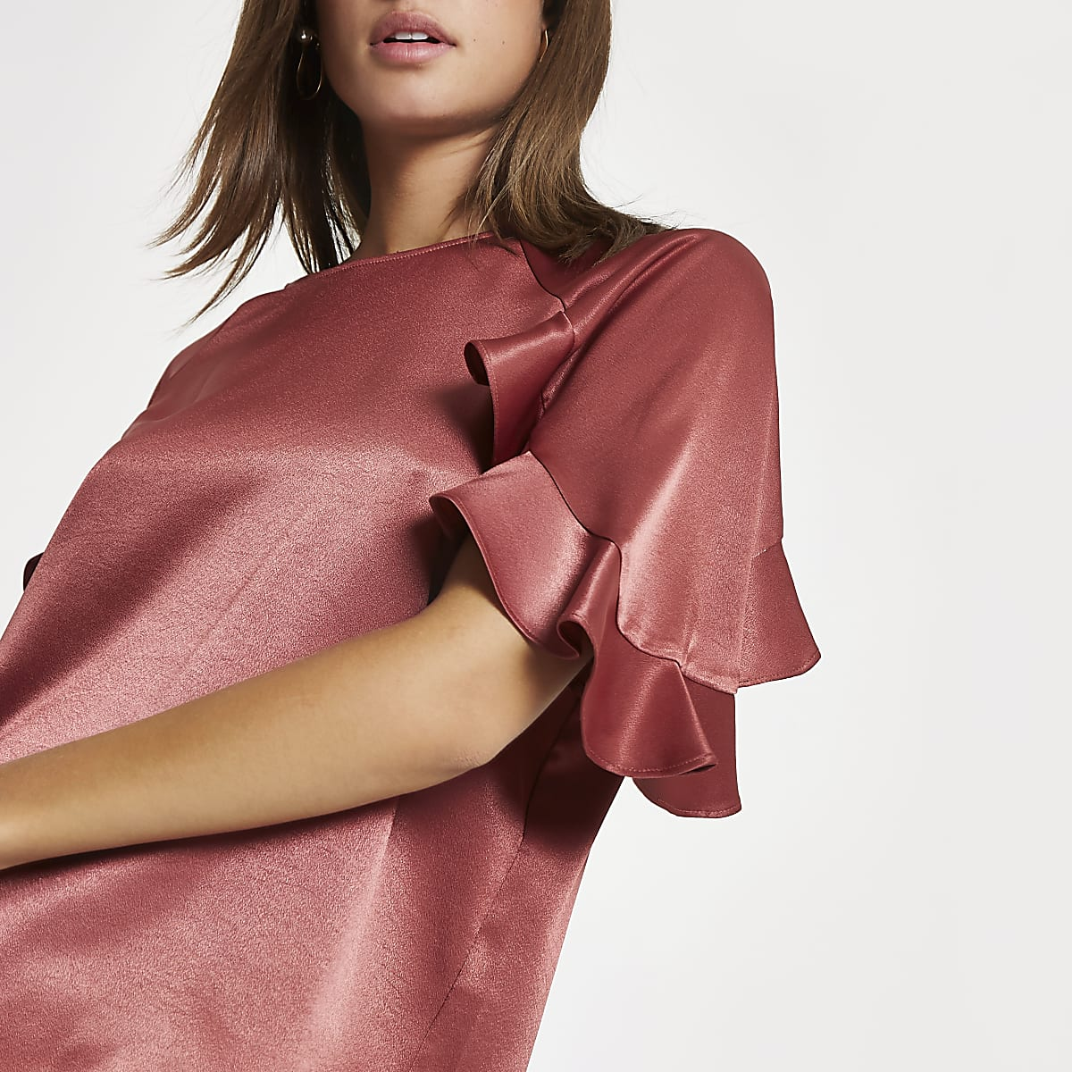 Copper chiffon frill sleeve top