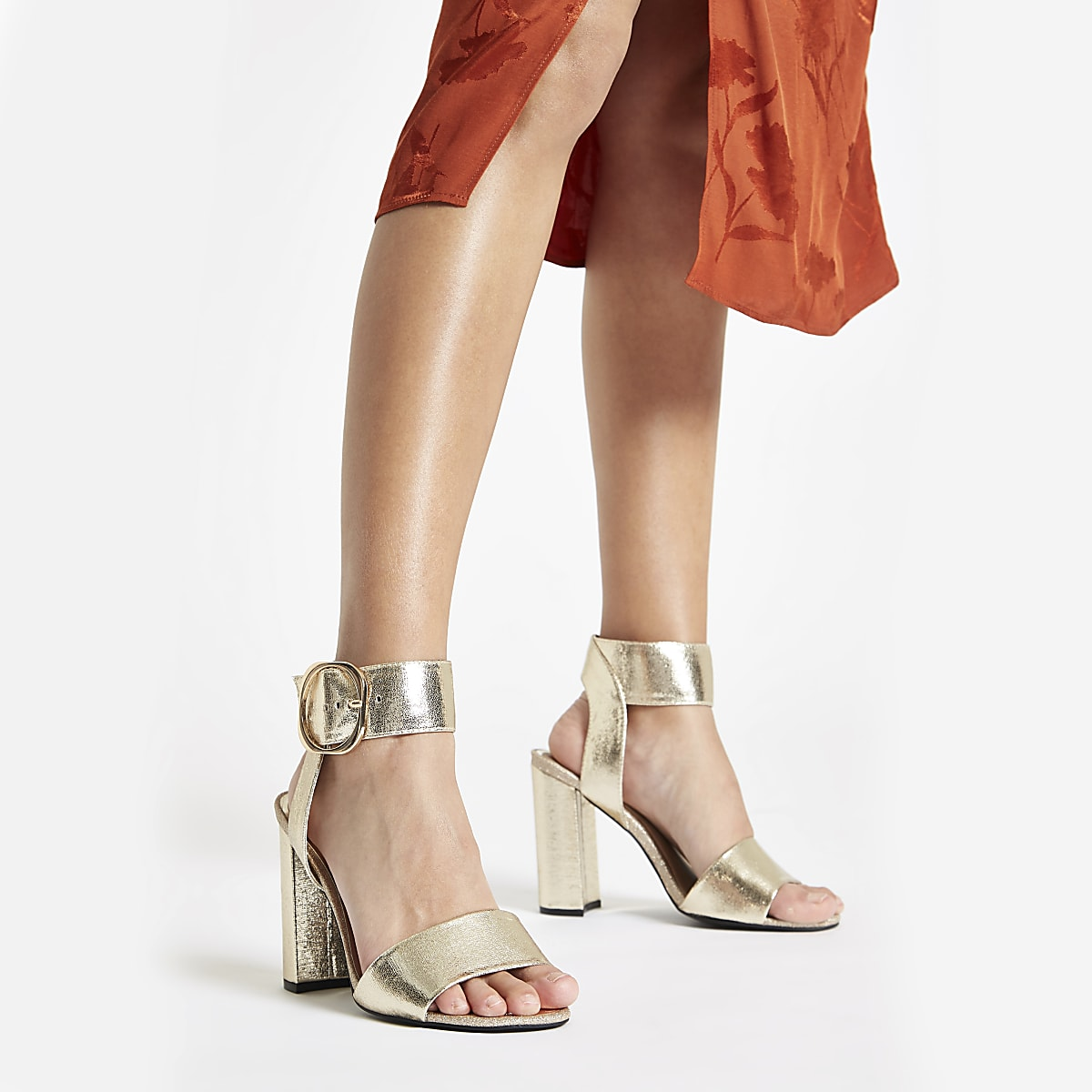 29baef99b38b Gold metallic wide fit block heel sandals - Sandals - Shoes & Boots ...