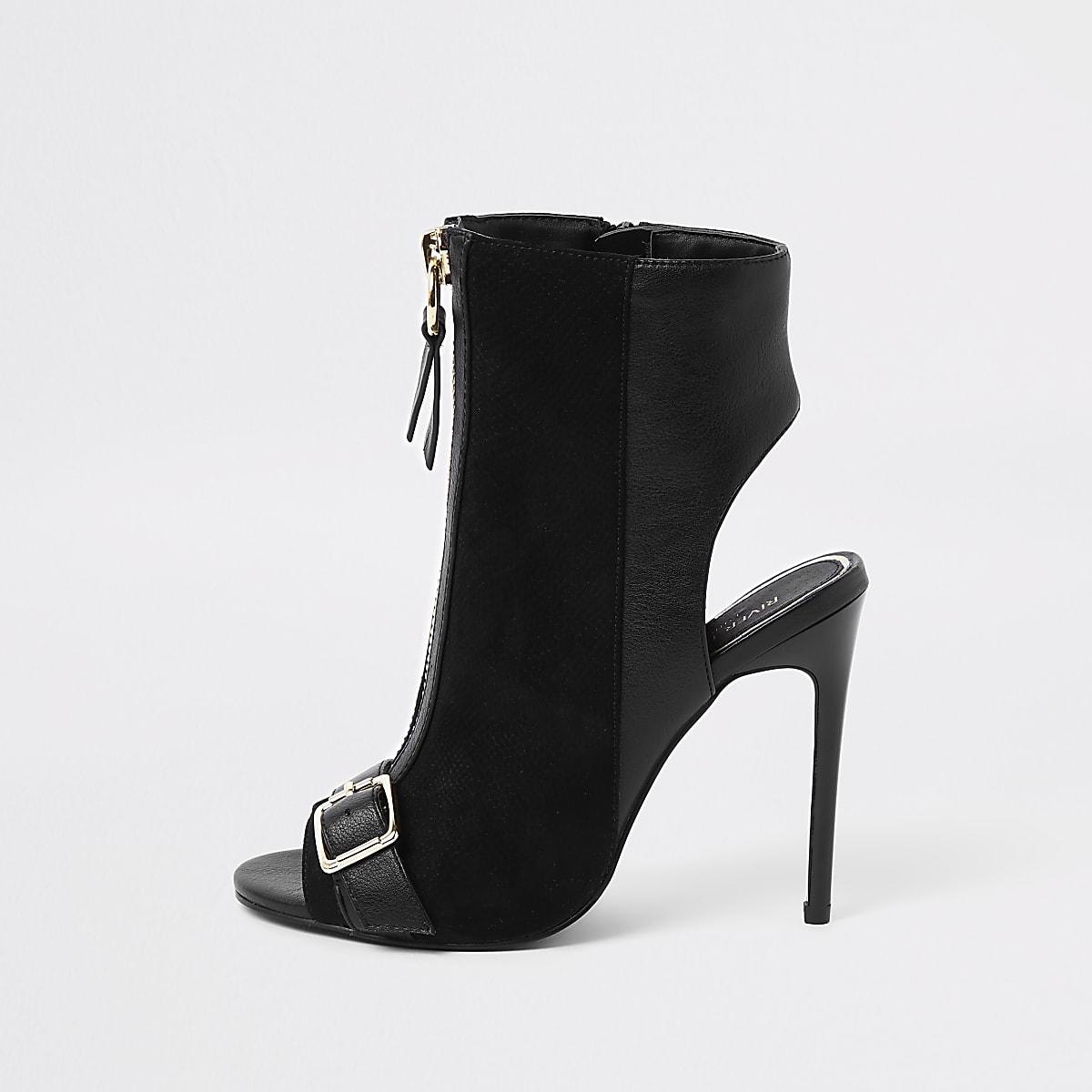 Black wide fit zip front buckle shoe boots