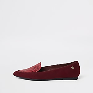 Mocassins rouges à bout pointu coupe large