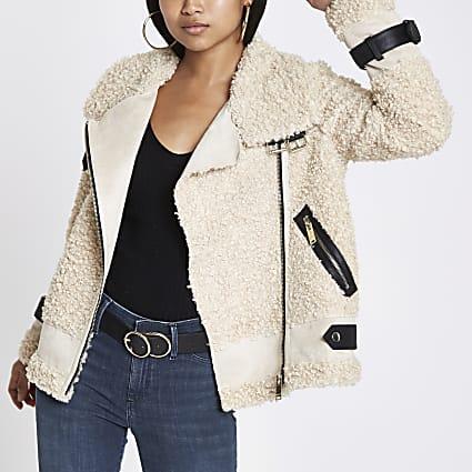 Petite beige borg aviator jacket