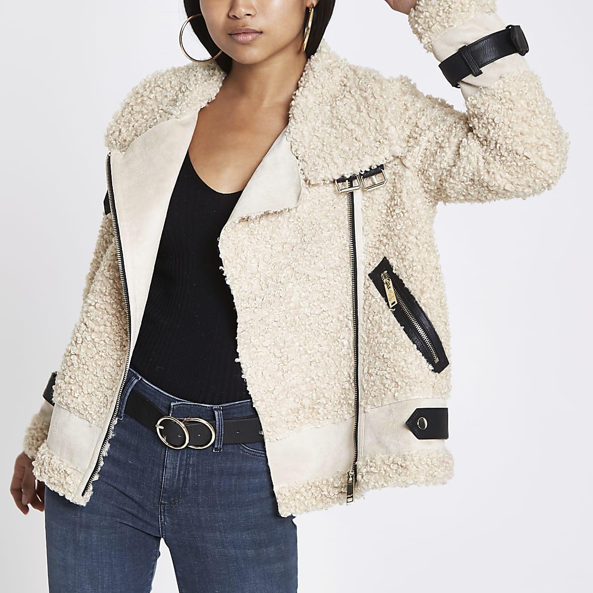 Petite beige fleece aviator jacket