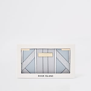 Lichtblauwe smalle uitvouwbare portemonnee in cadeauverpakking